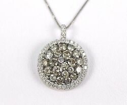 Fancy Color Diamond Round Cluster Ladyand039s Necklace Pendant 14k White Gold 2.80ct