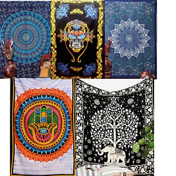 Sale 10pc Hippie Boho Mandala Indian TWIN Psychedelic Tapestry Dorm Closet Decor