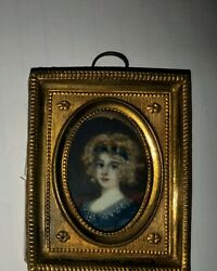 Antique 19thc Miniature Portrait Painting Of Prussian Princess In Metal Frame