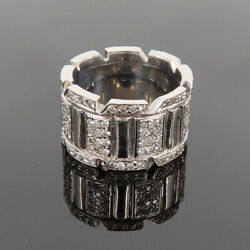 Vintage 2.0ct Diamond And 18k White Gold 11.5mm Wide Band Size 5