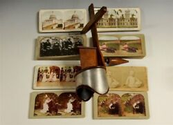 Antique Underwood Stereoscope 3d View Finder Mix Lot Of 124 Cards 1890and039s-1910and039s