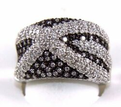 Round Diamond Black And White Cluster X Lady's Ring Band 14k White Gold 1.75ct