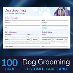Dog Grooming Customer Care Record Cards - Contract Cards - 100x Pack