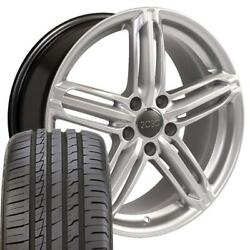 Silver 18in Rs6 Wheels And 245/40zr18 Tires Set Fits Audi Vw