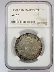 1938r San Marino 20 Lire Silver Coin Ngc Ms 62 Uncirculated Low Mintage 12ng