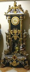 8' Antique Musical Style Gilt Bronze and Porcelain French Palace Pendulum Clock!