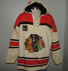 Nhl Chicago Blackhawks Xl Tall Sewn Embroidered Old Time Hockey Jersey Hoodie