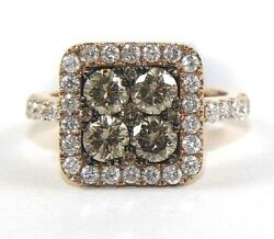 Fancy Color Brown Round Diamond Square Cluster Ladyand039s Ring 14k Rose Gold 2.34ct