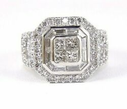 Princess Cut Diamond Cluster Invisible Square Ladyand039s Ring 10k White Gold 2.50ct