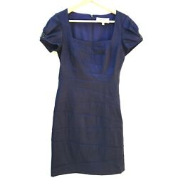 Badgley Mischka Collection Iridescent Blue Embellished Bodycon Stretchy Dress 4