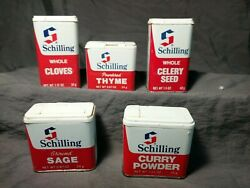 5 Vintage Schilling Spice Tins 1977 With Contents