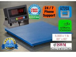 5and039x5and039 60 X 60 Floor Scale /pallet Scale 5000lb/1lb With Medal Indicator