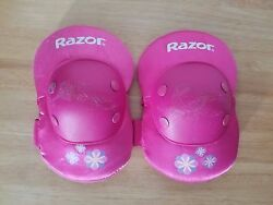 Razor Pink Knee Pads Size Medium Youth. Purple And Blue Flowers