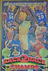 Poster Lakers Back2back Pre-0wned 22x34 Laminated Signed By Derek Fisher