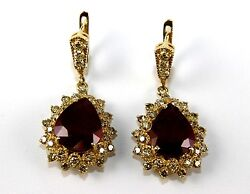 Pear Ruby And Diamond Halo Drop Snap Earrings 14k Yellow Gold 14.33ct