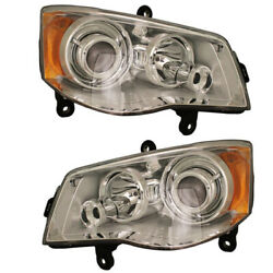 08-12 Town And Country Hid Headlight Headlamp Head Light Left Right Side Set Pair