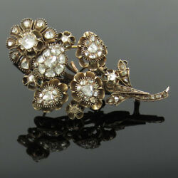 Antique Edwardian 3.50ct Old Rose Cut Diamond Silver And 10k Gold Flower Brooch