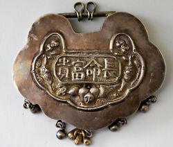 Old Chinese Sterling Silver Hand Carved Pendant