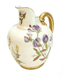 Royal Worcester Hand Painted Porcelain Pitcher 1889