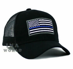 USA Flag Hat POLICE THIN BLUE LINE SUPPORT LAW ENFORCEMENT Mesh Baseball Cap $10.85