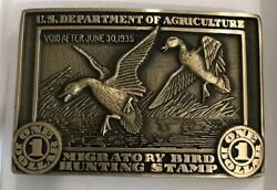 First Edition Duck Stamp Belt Buckle 50th Anniversary Waterfowl Hunting Geese