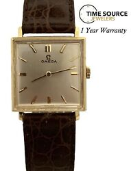 Vintage Omega 14k Yellow Gold Manual Wind Silver Dial 25x32mm Circa 1950s Watch