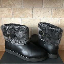 Ugg Classic Berge Mini Black Leather Shearling Ankle Boots Size Us 8 Womens