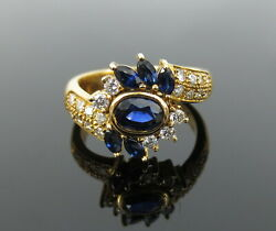 Fine 1.50ct Royal Blue Sapphire And 0.50ct Diamond 18k Yellow Gold Ring Size 6.25
