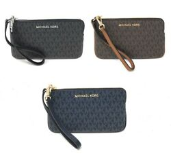 Michael Kors Jet Set Travel Large Top Zip Signature Leather Wristlet Clutch $44.94