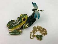 Enamel Dragonfly And Frog Austrian Crystals Hinged Trinket Box W Necklace