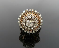 Antique 0.65ct Old Mine Cut And 1.20ct Old Cut Diamond 14k Yellow Gold Ring