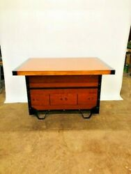 Industrial Island / Bar- Salvaged Gym Seating And Bowling Alley Floor Pallet Cart