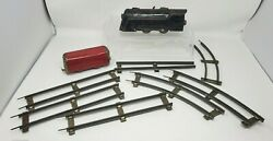 Vintage Marx Made In Usa Wind-up Train Car And Seven Tracks Metal Tin Loose Euc