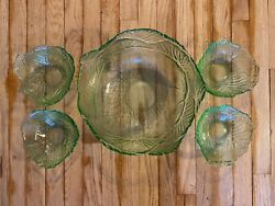 Green Depression Glass Salad Serving Bowl And 4 Small Bowl Set Lettuce Pattern