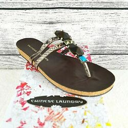 Chinese Laundry Womens Flashpoint Viper Stone Design Thong Sandals Size 7.5M NEW