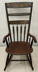Mid 19th Century Hand Painted And Stenciled American Windsor Rocking Chair C.1850s
