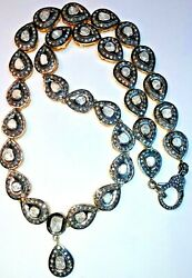 14.80 ct 100% NATURAL PAVE DIAMOND & DIAMOND POLKI 18K GOLD & S.SILVER NECKLACE