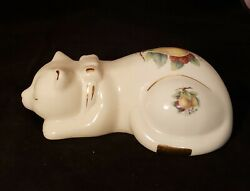 Sleeping Cat Porcelain Figurine Formalities by Baum Bros Fruit Motif with Gold