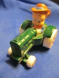 Porky Pig 1988 Die Cast Metal Vintage Looney Tunes Green Tractor Made In Usa