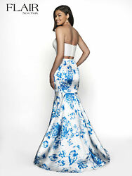 Authentic Flair Prom 19047 Dress-color Ivory/blue-size8 Prom Dress-reg 198