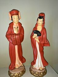 Antique Chinese Ceramic Hand Painted Large Heavy Statues Fan Emperor Set ❤️ Tw4j