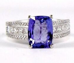 Natural Radiant Tanzanite And Diamond Solitaire Ladyand039s Ring 14k White Gold 3.47ct