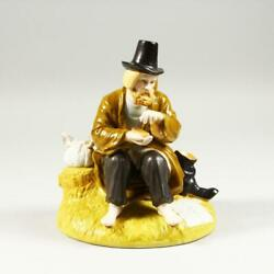Antique Russian Porcelain Model Of A Tramp Seated At A Tree Stump. /gardner/