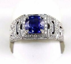 Natural Cushion Blue Sapphire And Diamond Solitaire Ring 14k White Gold 2.18ct
