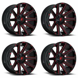 4x Fuel Contra D643 Wheels Gloss Red Milled 20x9 6x5.5 / 6x139.7 6x135 +20 5.75