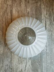 Vtg Antique Art Deco Frosted Glass Shade Ceiling Light Fixture Fluted 10.25