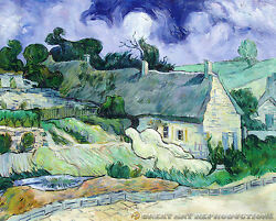 Thatched Cottages At Cordeville, Vincent Vangogh Reproduction In Oil, 50x40