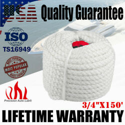 3/4x150and039 Twisted Three Strand Nylon Boat Anchor Mooring Rope Dock Line 13000lb