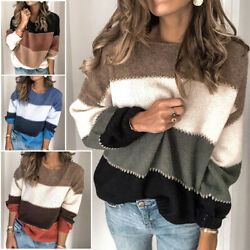 Women Oversized Color Block Sweater Jumper Ladies Loose Striped Thick Pullover $24.89