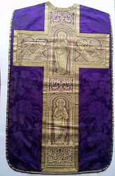 Benziger Brothers French Purple Vestment Tapestry Embroidered Goldwork Panel 30s